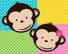 Chica y chico Mod Monkey clipart y fondos para por designOrganized