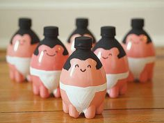 Got some empty plastic water bottles around? Recycle them into these sumo bowling pins. | 22 Silly DIY Projects That Will Make You Laugh Out Loud