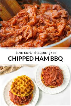 If you grew up with ham barbecue sandwiches you will love my low carb chipped ham bbq recipe! The chipped ham is a childhood favorite and the sugar free bbq sauce and keto waffle bun make them perfect for a low carb diet! Healthy Low Carb Dinners, Low Carb Dinner Recipes, Low Carb Keto, Healthy Eating, Ketogenic Recipes, Keto Recipes, Diabetic Recipes, Pork Recipes, Delicious Recipes