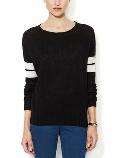 SEU BLEU CASHMERE - Anya Cashmere Varsity Stripe Sweater