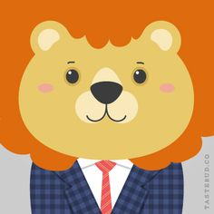 "Lenny lion from ""What Stylish Animal Are You?"" online game from Tastebud. Illustration by Daniel Knispel"