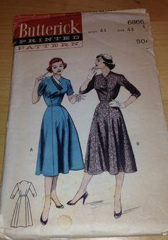 Vintage 1950s Plus Size Butterick Dress Pattern 6866