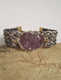 Leather Druzy Bracelet Drusy Quartz Braided by julianneblumlo, $78.00