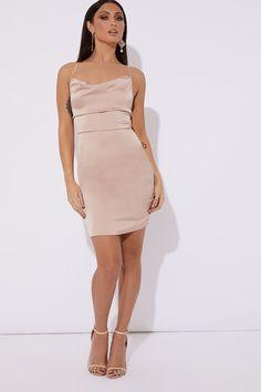 Verona nude satin cowl lace up back mini dress f685a9a0c