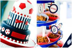 Soccer Themed 4th Birthday Party! on http://pizzazzerie.com Julian decided he wants a soccer cake, this one is cute!