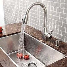 (Limited Supply) Click Image Above: Contemporary Single Handle Stainless Steel Pull Out Kitchen Faucet (brushed Finish) Kitchen Sink Design, Big Kitchen, Kitchen Dining, Kitchen Ideas, Kitchen Planning, Pull Out Kitchen Faucet, Kitchen Taps, Glass Vanity, Glass Bathroom
