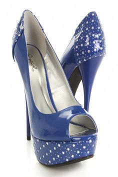 Frickin' kick A$$ shoes!!!  Cobalt Blue Patent Faux Leather Perforated Star Platform Heels @ Amiclubwear Heel Shoes online store sales:Stiletto Heel Shoes,High Heel Pumps,Womens High Heel Shoes,Prom Shoes,Summer Shoes,Spring Shoes,Spool Heel,Womens Dress Shoes,Prom Heels,Prom Pumps,