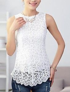 Women's Sleeveless Lace Splicing Tank Pretty Outfits, Cool Outfits, Casual Outfits, Lace Tops, Blouse Designs, Ideias Fashion, Fashion Ideas, Clothes For Women, How To Wear