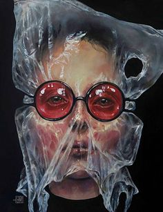 Artist: Afarin Sajedi {contemporary surrealism art female plastic bag over head eyeglasses woman face portrait cropped painting} afarinsajedi.com