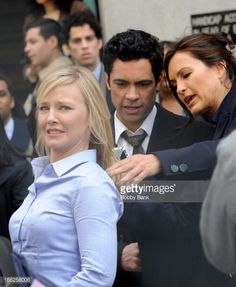 Kelli Giddish, Danny Pino and Mariska Hargitay filming on location for 'Law & Order: SVU' on April 10, 2013 in New York City.