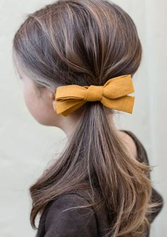 Handmade Mustard Linen Hair Bow | TealandFinch on Etsy