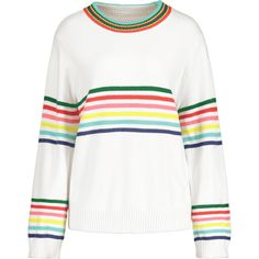 Oversized Striped Pullover Sweater White (980 THB) ❤ liked on Polyvore featuring tops, sweaters, oversized tops, striped pullover, stripe top, over sized sweaters and oversized pullover sweater