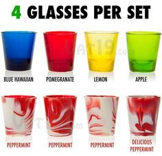 Hard Candy Shot Glasses: Fruit and peppermint flavor 4-packs