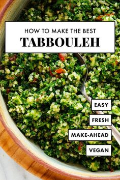 Learn how to make the BEST tabbouleh at home! This simple tabbouleh recipe calls… Learn how to make the BEST tabbouleh at home! This simple tabbouleh recipe calls for authentic ingredients and yields fresh and delicious tabbouleh salad. Salad Recipes, Diet Recipes, Vegetarian Recipes, Cooking Recipes, Healthy Recipes, Bulgur Recipes, Parsley Recipes, Healthy Food, Vegan Recipes