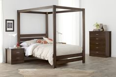 local made tasmanian oak Manly+ bedroom suite with four poster bed