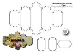 5 Panel Card Front Layer 3 Tags Templates CU4CU on Craftsuprint designed by Mary Jane Harris - Here is a sheet of CU4CU templates. Sheet includes a template for a 5 panel card front layer/mask, and 3 sentiment tag templates to match. I have included a sample of how the large template in use. Templates come in both .png format, and .jpg format. Templates (c)Mary Jane Harris 2012. - Now available for download!