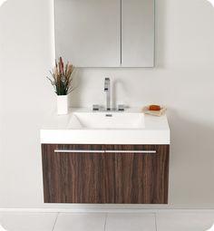 Fresca Vista Walnut Modern Bathroom Vanity w/ Medicine Cabinet