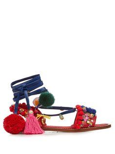 Pompom-embellished leather flat sandals | Dolce & Gabbana | MATCHESFASHION.COM US