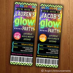 Its a glowing dance party! This listing is for a 2.5 x 7 glow ticket invitation that you print yourself. Upon purchase, I will email you the