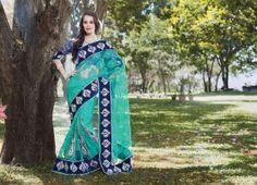 Teal Blue & Royal Blue Saree
