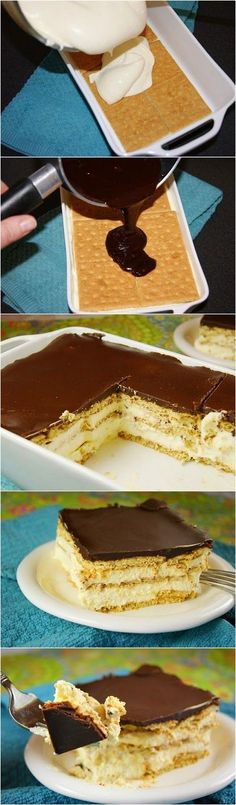 No-Bake Chocolate Eclair Dessert. Let's arrange palatable dessert in few minutes. You don't need spend time for baking. Knowledge of right recipe will simplify your culinary preparation. Cake is light as cloud. You will feel pleasant freshness after treating.