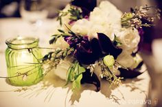 Winter wedding bouquet - purple, white and green flowers