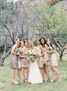 Mismatched bridesmaids Mismatched Bridesmaid Dresses in Neutral Colors photo Cute Wedding Dress, Fall Wedding Dresses, Colored Wedding Dresses, Wedding Colors, Bride Dresses, Wedding Attire, Wedding Bouquets, Mismatched Bridesmaid Dresses, Wedding Bridesmaids