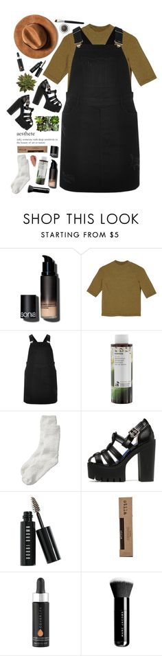 """""""Set 907 ft. River Island RI Plus Black Overall Dress"""" by yen-and-len ❤ liked on Polyvore featuring Sonia Kashuk, Monki, River Island, Korres, Old Navy, WithChic, Bobbi Brown Cosmetics, Urban Decay, Stila and éS"""