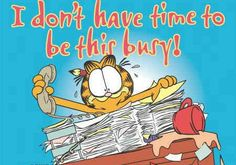 I don't have time to be this busy! Garfield Pictures, Garfield Quotes, Garfield Cartoon, Garfield And Odie, Garfield Comics, Cartoon Cats, Office Humor, Work Humor, Just Love