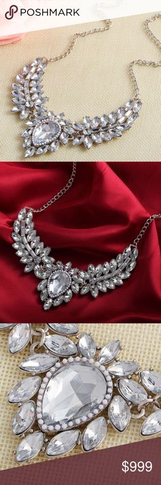 Stunning Clear Crystal Floral Statement Necklace Brand new in original packaging.  Elegant, sophisticated, & glamorous; this beautiful jewel statement necklace is ideal for prom, weddings, date night or a holiday party!   Glistening arrangement of floral clear crystals and white gems rest on a silver link chain w/ an extender for adjustable length, lobster claw clasp. Stones may be off-center but set in electroplated silver metal. Multiple colors available! All sales are final, please ask…