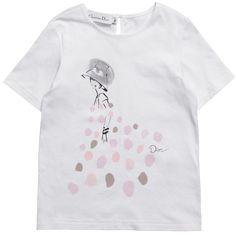 Girls White Printed Cotton T-Shirt - T-Shirts - Tops - Girl | Childrensalon