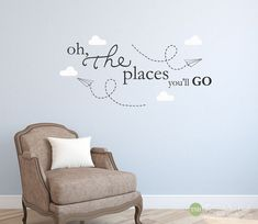 Oh The Places You'll Go Paper Airplanes Clouds by thestickerhut