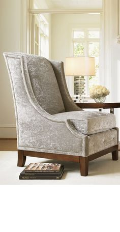 715411 in by Lexington Furniture in Newhall, CA - Ava Wing Chair 30 x 37 x 45 in Kraver Genslar 11 with Black legs and nail heads Sofa Set Designs, Sofa Design, Interior Design, Sofa Furniture, Luxury Furniture, Furniture Design, Quality Furniture, Furniture Ideas, Luxury Chairs