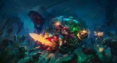 battle chasers fantasy art magic video games warrior wallpaper