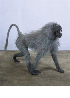 "--Kendra Haste--  ""Alpha Male Baboon"" (2003)  Painted galvanised wire - unique  34(h) x 43(l) x 20(w) in / 85(h) x 110(l) x 50(w) cm"