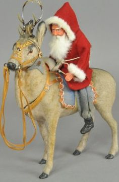 Reindeer and Santa Candy Container German Christmas, Prim Christmas, Antique Christmas, Merry Little Christmas, Christmas Past, Father Christmas, Christmas Toys, Christmas Candy, Christmas Photos