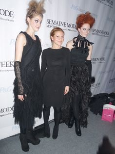Designer Nadya Toto at Montreal Fashion Week this past month. One of the more obviously Goth oriented designers. Love the two outfits on either side of her.