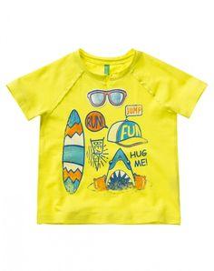 T-shirt en 100% coton avec imprimé rigolo à l'eau multicolore et écusson…