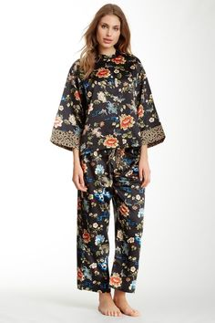NATORI $180 OTTOMAN FLORAL PRINTED PJ SET CRANBERRY RED PAJAMAS ...