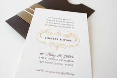 Oh So Beautiful Paper: Lindsay + Ryan's Kraft Paper + Gold Wedding Invitations