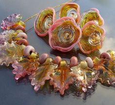 Silvia Handmade Lampwork Beads Golden Pink Set of Flower Caps and Leaves 24 SRA | eBay