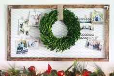 This Christmas season, DIY your card display board with a rustic approach. Use chicken wire and some plywood to create a frame, and top with a boxwood wreath for the finishing touch.  Get the tutorial at Lolly Jane.    - CountryLiving.com