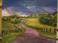 countryside storm fence pasture landscape road painting acrylic peaceful