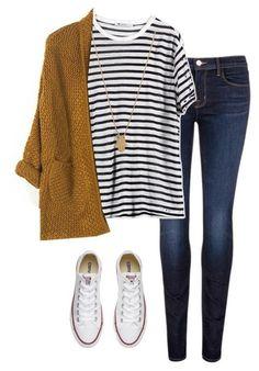 Outono Listrado jeans tênis branco cardigan caramelo