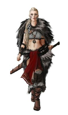 Female Human Barbarian or Bloodrager - Pathfinder PFRPG DND D&D 3.5 5th ed d20 fantasy
