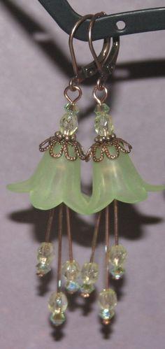 Green Lily Earrings