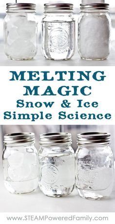 Melting Magic ~ Snow and Ice Simple Science - Snow Ice Simple Science is an experiment all ages can do and teaches valuable lessons about the molecular structure of water in ice form versus snowflake. via /steampoweredfam/