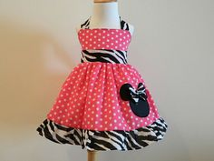 Girls Custom boutique Minnie Mouse Halter Dress by FunUpTownGirls, $29.00