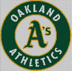Oakland Athletics baseball logo- cross stitch pattern by Vandihand on Etsy