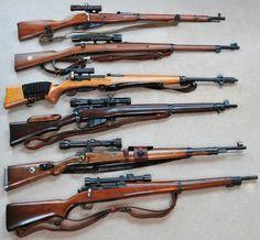 Mosin Nagant 91/30 ottica: PU • Carl Gustav M/41B -- Ajack 4x • Schmidt Rubin ZfK 55 -- Kern Aarau • Lee Enfield No4 Mk1 T -- No 32 MkII Scope • Mauser K98 -- Zeiss Jena Zielvier • Remington 1903A4 -- M84 scope (img Web)